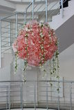 Beauty decoration flowers. Many beauty pink bunchs of silk roses. artificial flowers Stock Photo