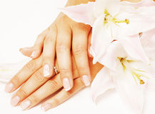 Beauty delicate hands with manicure holding flower Stock Images