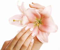 Beauty delicate hands with manicure holding flower Royalty Free Stock Images