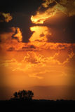 Beauty In Devastation. Smoky Sunset from West Fork Complex Fires in southern CO 2013 stock photography