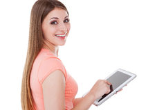Beauty with digital tablet. Royalty Free Stock Images