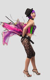 Beauty Disco Girl dance in color corset Royalty Free Stock Image