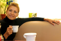 Beauty drinking coffee Royalty Free Stock Image