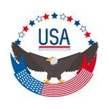 Beauty eagle with american ribbon symbol. Vector illustration Stock Photos