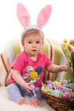Beauty Easter baby with eggs Royalty Free Stock Images