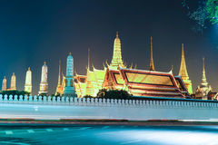 The beauty of the Emerald Buddha Temple at twilight. Thailand Royalty Free Stock Photo