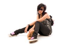Beauty emo girl. Beautiful emo girl listening music over white stock image