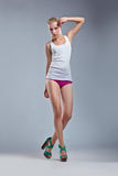 Beauty erotic woman, body in singlet Royalty Free Stock Photography