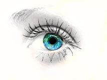 Beauty eye. Dramatic black and white portrait of a beautiful woman's blue eye with selective color stock photography