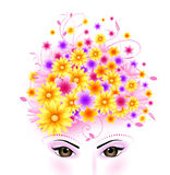 Beauty of Eyes and Flowers hair Stock Photo