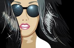 Beauty  face. Illustration of a beautiful woman wearing sunglasses Royalty Free Stock Photography