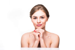 Beauty face of beautiful cheerful teenager girl enjoying with clean healthy skin isolated on white background Stock Photos