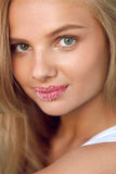 Beauty Face. Beautiful Woman With Full Lips With Sugar Lip Scrub. Beauty Face. Closeup Portrait Of Beautiful Young Woman With Fresh Soft Pure Skin, Sweet Plump stock image