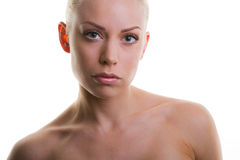 Beauty face of beautiful young woman with clean fr Stock Photography