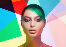 Beauty face with color filters. Beauty woman with color filters stock photography