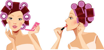 Beauty face girl with hair rollers, face woman, profile face, curlers rollers in hair, makeup Royalty Free Stock Images