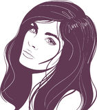 Beauty face girl portrait. Abstract beauty face girl portrait. Vector illustration Royalty Free Stock Photo