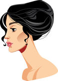 Beauty face girl in profile, beautiful woman hairstyle, brunette girl. Vector illustration of beauty face girl in profile, beautiful woman hairstyle, brunette Royalty Free Stock Photo