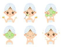 Beauty face mask. Woman skin care, cleaning and face brushing. Acne treatment masks vector cartoon illustration stock illustration