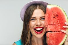 Beauty Face portrait of smiling woman with watermelon. Royalty Free Stock Photos
