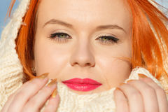 Beauty face red hair woman in warm clothing outdoor Stock Photo
