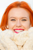 Beauty face red hair woman in warm clothing outdoor stock photography
