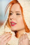 Beauty face red hair woman in warm clothing outdoor Royalty Free Stock Photos