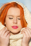 Beauty face red hair woman in warm clothing outdoor Royalty Free Stock Images