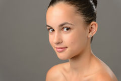 Beauty face teenage girl cosmetics skin care Stock Photo
