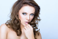 Beauty face. Woman with a beauty face royalty free stock photo