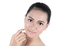Beauty face woman with clean fresh skin Stock Photography