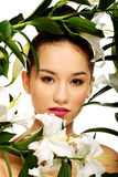 Beauty face of a woman with flowers. Royalty Free Stock Photo