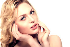 Beauty face woman. Girl healthy model in spa salon. Cream treatment products. Facial skin terapy stock images