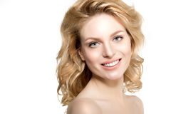 Beauty face woman. Girl healthy model in spa salon. Cream treatm Royalty Free Stock Image
