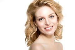Beauty face woman. Girl healthy model in spa salon. Cream treatm Royalty Free Stock Image