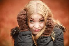 Beauty face woman in warm clothing outdoor Royalty Free Stock Photo
