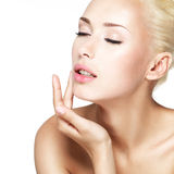Beauty face of the young beautiful blond woman Royalty Free Stock Image