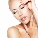 Beauty face of the young beautiful blond woman Stock Photo