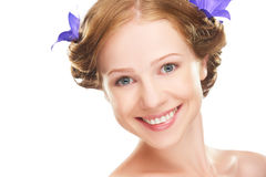 Beauty face of young beautiful healthy girl with purple and lila Royalty Free Stock Photos