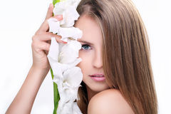 Beauty face of the young beautiful woman Royalty Free Stock Photo