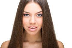 Beauty face of young beautiful woman with health clean skin Stock Photos