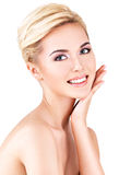 Beauty face of the young beautiful woman stock photo