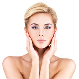 Beauty face of the young beautiful woman Royalty Free Stock Image