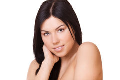 Beauty face young brunette woman Stock Image