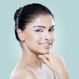 Beauty face of young model in studio Royalty Free Stock Images