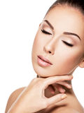 Beauty face of the young womam with closed eyes royalty free stock photography
