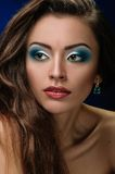 Fashion Makeup blue Royalty Free Stock Photography