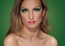 Fashion Makeup green Stock Photography