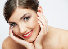 Beauty face of young woman Stock Photos