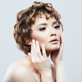 Beauty face of young woman Stock Photography